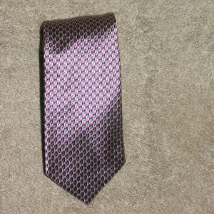 Ermenegildo Zegna Pink Geometric Silk Tie
